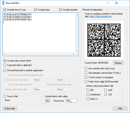 Barcode2Win: transform Android device into a Windows WiFi